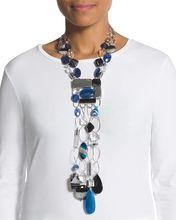 Fashion Geometric Natural Stone Crystal Chain Big Long Statement Necklace(China (Mainland))