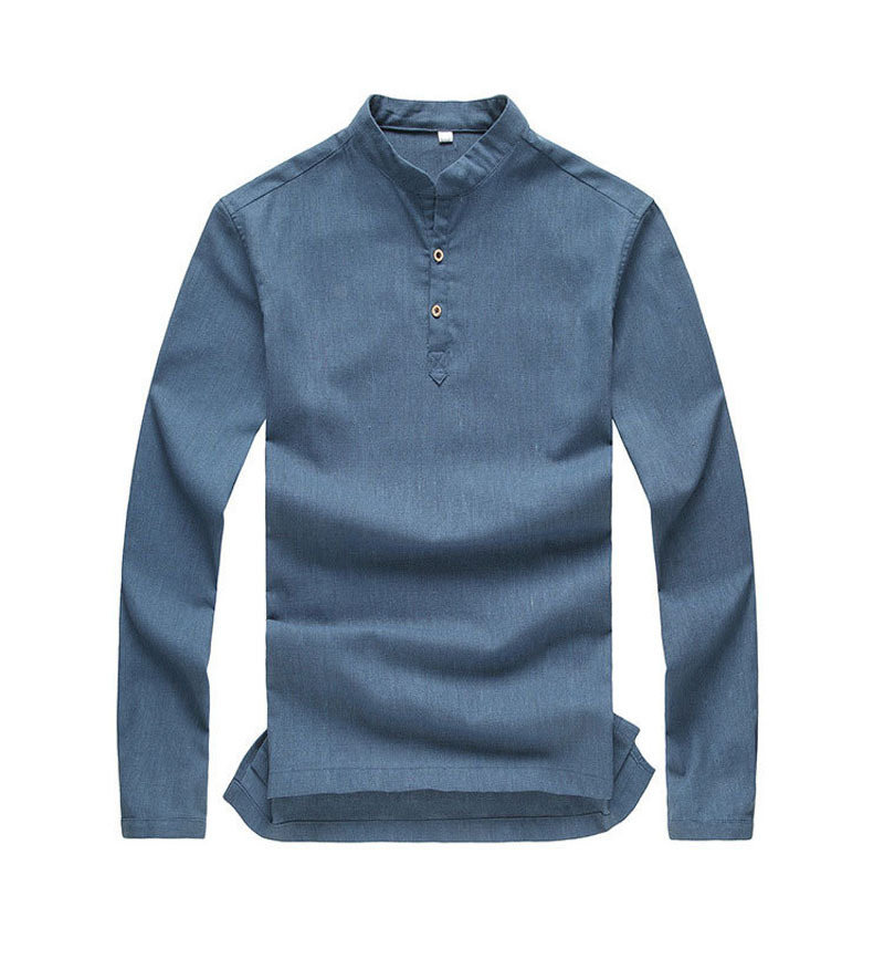 high quality 2015 mens pullover shirt long sleeve linen