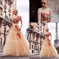 2017 Sexy Abendkleider vestido de festa Sleeveless Backless O neck Evening Dress robe de soiree Champagne