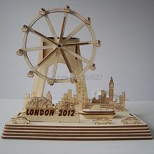 Free Shipping 1Piece Hot sale DIY Solar Kits London Eye DIY Solar Powered Ferris Wheel Wooden Puzzle Toy(China (Mainland))