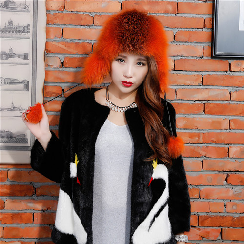 2015 Keep Warm New Leather Bomber Hats 100% Real Fox Fur Hat With Ear Flaps Fashion Winter Hats for WomenОдежда и ак�е��уары<br><br><br>Aliexpress