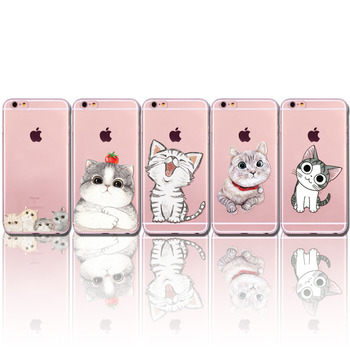 Cute Cat Pattern Case Cover For Apple iPhone 6 6s Plus 6Plus 4 4s 5 5s SE 5C Transparent Soft Silicone Cell Phone Cases