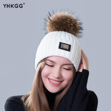 2016 new knitted hat fashion Women big Real Raccoon Fur pom pom Caps Crochet Hats For Women Winter Cute Casual Cap Women Beanies
