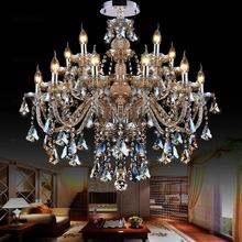 15 lights champagne color luxury crystal chandeliers lustres de cristal lustres de teto E12/14 LED bulbs.110-120V,220-240V(China (Mainland))
