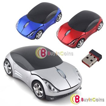 1Pcs/lot Stylish Durable Car Design 3D Wireless USB Mouse for Laptop PC Notebook   #9705