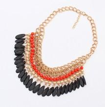 Wholesale 2015 Bohemian Tassels Drop Vintage Gold Choker Chain Neon Bib Statement Necklaces Pendants Fashion Jewelry