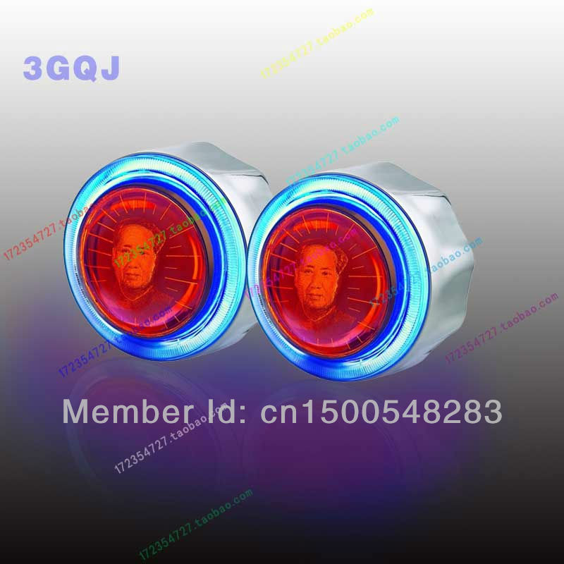 3 inch angel eye 3Dbi xenon projector lens light hid xenon kit with CCFL Devil eyes h1 h4 h7 parking car styling(China (Mainland))