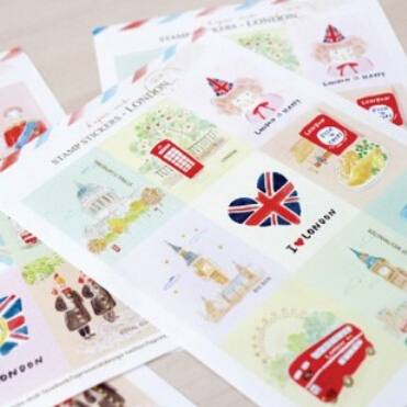 10 bags/lot (180 pieces) DIY Cute Kawaii Stamp Stickers London Paris Eiffel Tower for Diary Scrapbook Gift Free shippipng 423<br><br>Aliexpress