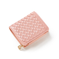 Classic Knitting Short Wallet Women Trendy Japan And Korean Style Fashion Purse Exquisite Woven Pattern Tri