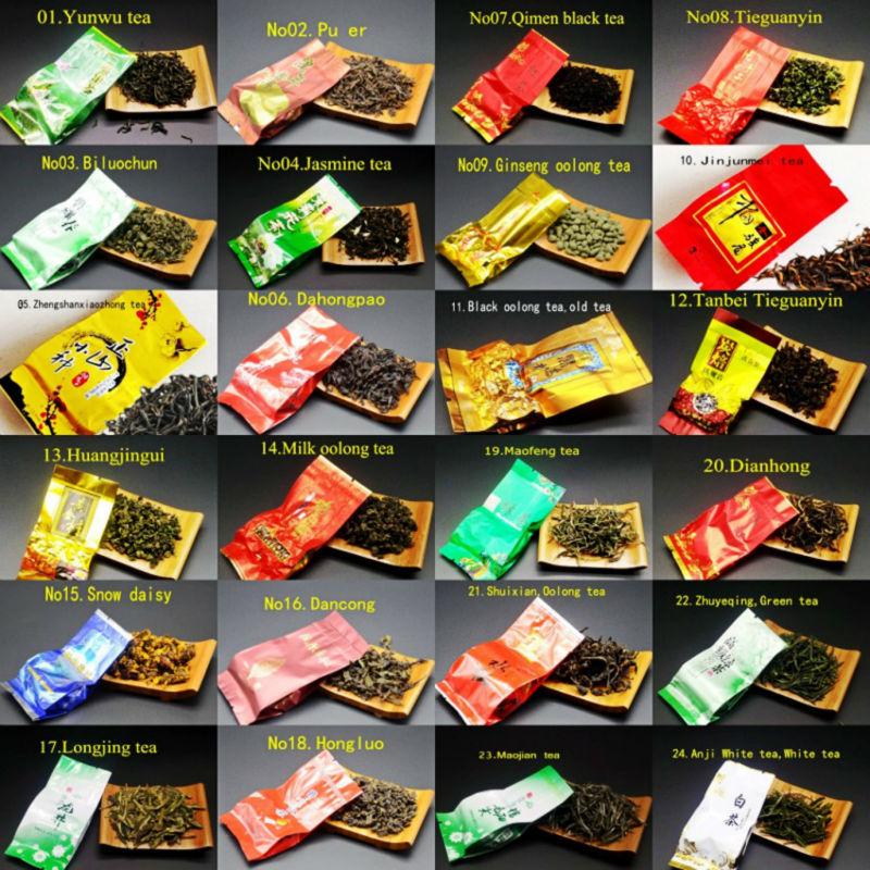 28 different flavors Famous Chinese tea Milk oolong tea Dahongpao Tieguanyin Pu erh Green tea Puer Black tea Free shipping(China (Mainland))
