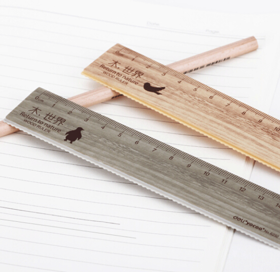 2pc / lot wood cartoon ruler plastic ruler student exquisite style wood 15cm ruler with wavy lines<br><br>Aliexpress