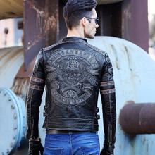2016 high end men autumn winter fashion black human skeleton skull dobby genuine leather harley Motorcycle biker bomb Jacket8134(China (Mainland))