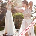 Romantic Ivory Lace Vestido de Noiva Beaded Sexy Backless High Low Beach Vintage Wedding Dress Chiffon