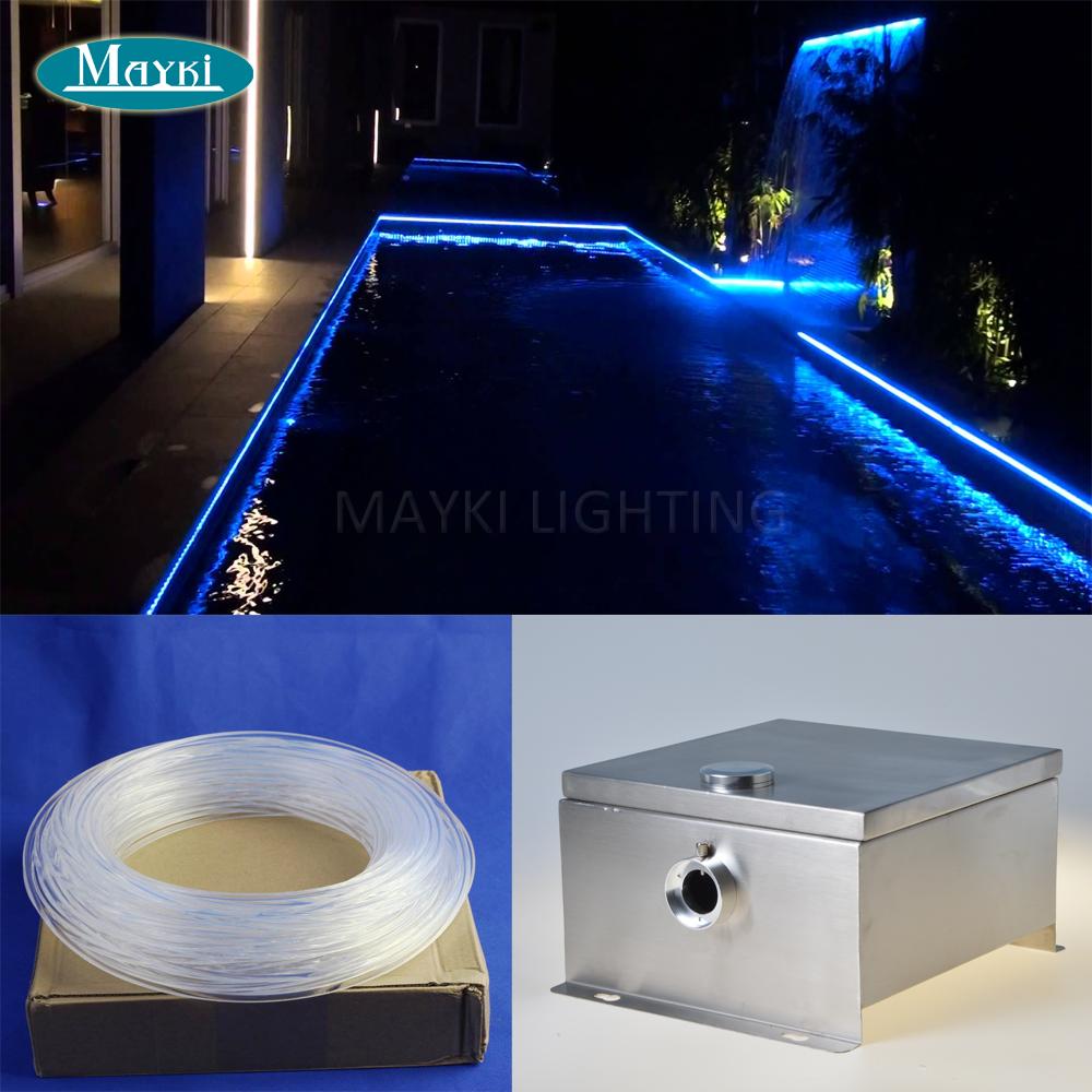 20m side glow fiber optic cable IP 43 DMX multi color change Cree 80W LED outdoor fiber optic pool light for perimeter lighting(China (Mainland))