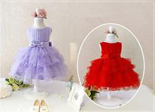 Di alta qualità new flower girl dress costume party pageant con pizzo pieghettato arco abiti da principessa per le ragazze matrimoni 3-8 anni(China (Mainland))