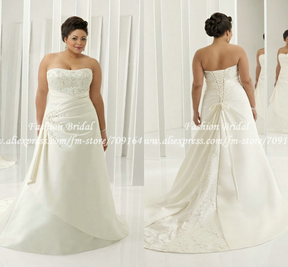 TWD075 Cap Sleeve Embroidered A Line Sweetheart Elegant Plus Size Corset Wedd