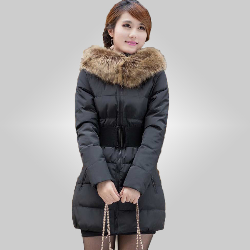 Slim stylish ladies thick winter long section of Ms. padded detachable fur collar coat cap 45(China (Mainland))
