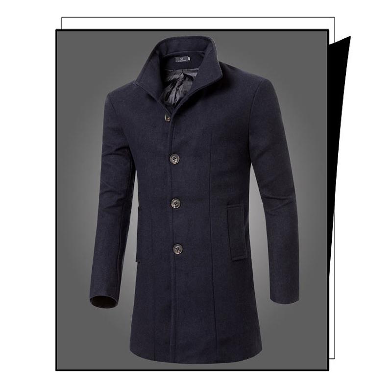 2015 Brand Designer Winter England Style Mens Pea Coat Long Sleeves Winter Long Coat Men Cheap Price Casual Peacoat China S227