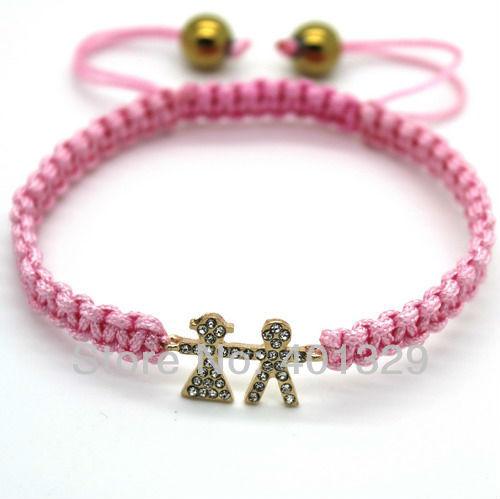 Hot!!! Cheap shamballa bracelet, Romantic lovers jewelry, Pink rope bracelets, Wholesale 3pcs/lot(China (Mainland))