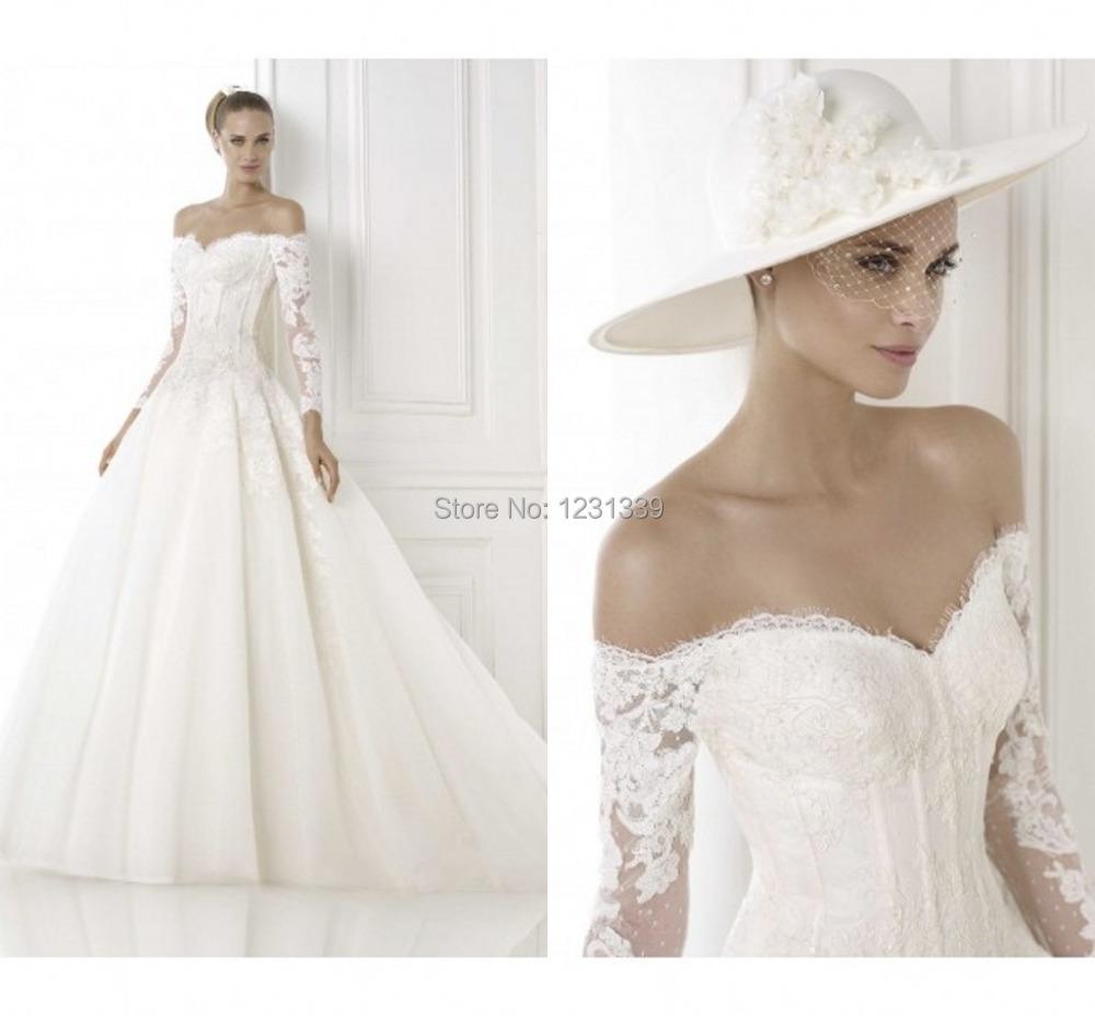 Wedding Dress Long Sleeve Backless : Long sleeve lace wedding dress vestidos vintage backless ball gown