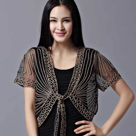 New 2014 Summer Wild Perspective Small Shawl Chiffon Lace Cardigan Gauze Lacing Boleros Fashion Womens Clothing Free Shipping(China (Mainland))