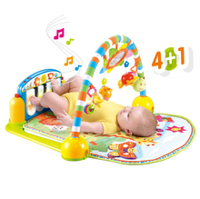 Musical Toy GYM Piano For Baby 0-12 Month With Teether Rattle Music Light Play Mat Colorful Mirrio Early development 0-24 month(China (Mainland))
