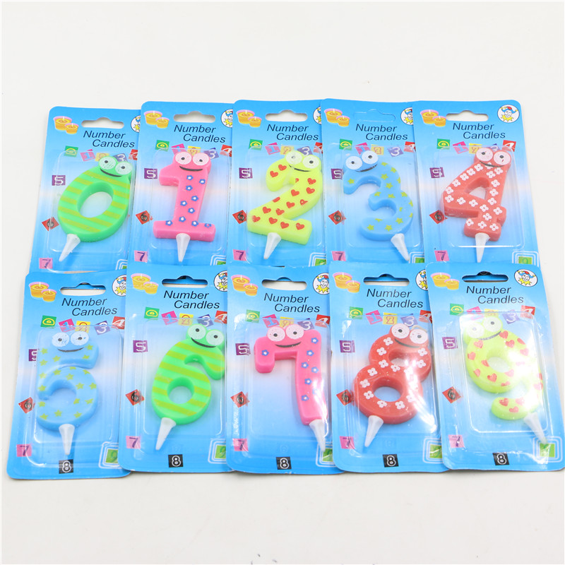 2pcs cute cartoon frog digital 0-9 candles kids girls boys birthday cake number candles baby shower event party supplies(China (Mainland))