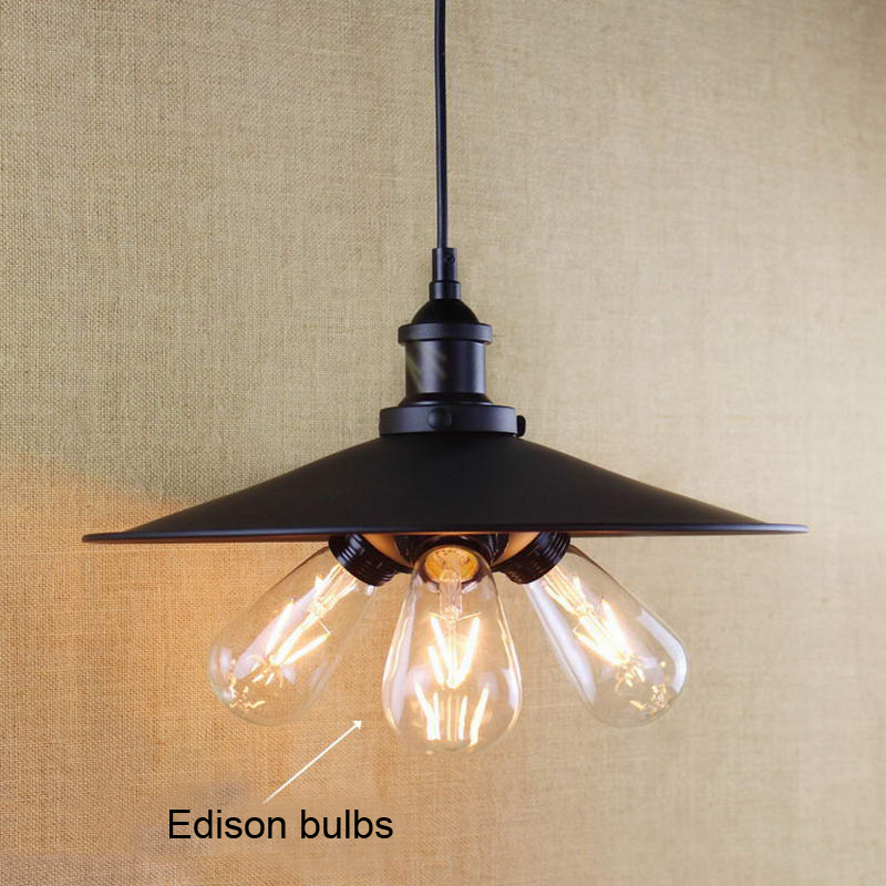 antique black pendant lamp For Kitchen Lights Cabinet Living/dining room/Edison Simple metal shade cover Pendant Light Fixture<br><br>Aliexpress