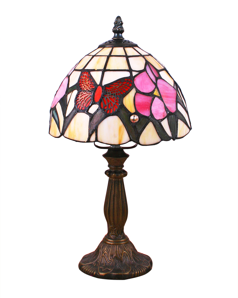 tiffany style table lamp with butterfly stained glass shade pu free. Black Bedroom Furniture Sets. Home Design Ideas