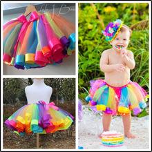 Girls Rainbow Skirt Gauze Tutu Kids Dance Skirts Children's Clothing(China (Mainland))