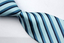 NT0134 Blue Navy Stripe Smooth Man s Wedding Business Luxury Tie Jacquard Woven Classic Silk Polyester