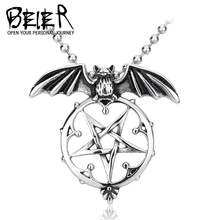 Beier Wholesale Stainless Steel Vintage Bat Pentacle Pendant Necklace For Man and Woman  BP8-139(China (Mainland))