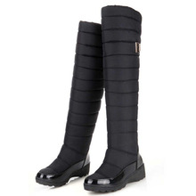 Rusia Mujeres Rodilla Botas Altas de Invierno Mantener El Calor Botas de Nieve Del Tobillo de piel Caliente Botas de Plataforma de Fondo Grueso A Prueba de agua zapatos(China (Mainland))