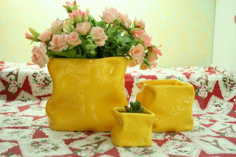 Original design artistic creative home creative ceramic flower pot craft vase, fleshy(China (Mainland))