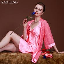 Chiffon Fashion Breathable Robe Spring And Summer Cool Sleepwear Twinset Lounge Chromophous(China (Mainland))