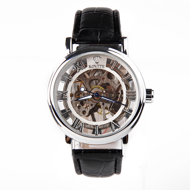 New Fashion Watches Men Luxury Brand Men s Mechanical Wristwatch Hollow dial Leather Band Steel Mechanical