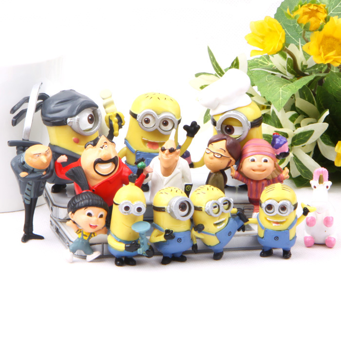 Hot Toys 14Pcs/Set Despicable Me 2 Minion Action Figure Toys Full Set 3.8-6.5CM Minions Toys Nice PVC Doll Best Baby Kids Gift(China (Mainland))