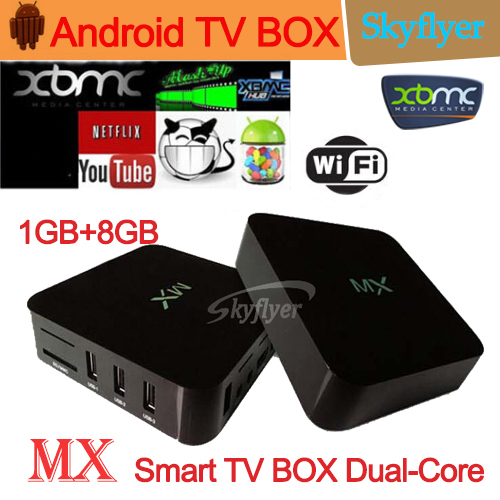 1pcs mx tv box Amlogic 8726 kodi xbmc android box dual core tv stick 1gb 8gb HDMI WIFI DLNA 1080p google XBMC mx smart tv box(China (Mainland))