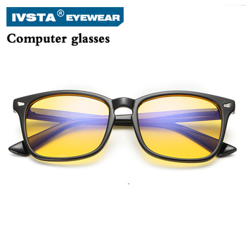 IVSTA Anti Blue Rays Computer Goggles Reading Glasses men Radiation-resistant Glasses Computer Gaming Glasses Black women 9092
