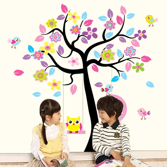 New Owl Bird Swing Wall Stickers Tree For Kids Rooms Children Baby Nursery Rooms Home Decor 001(China (Mainland))