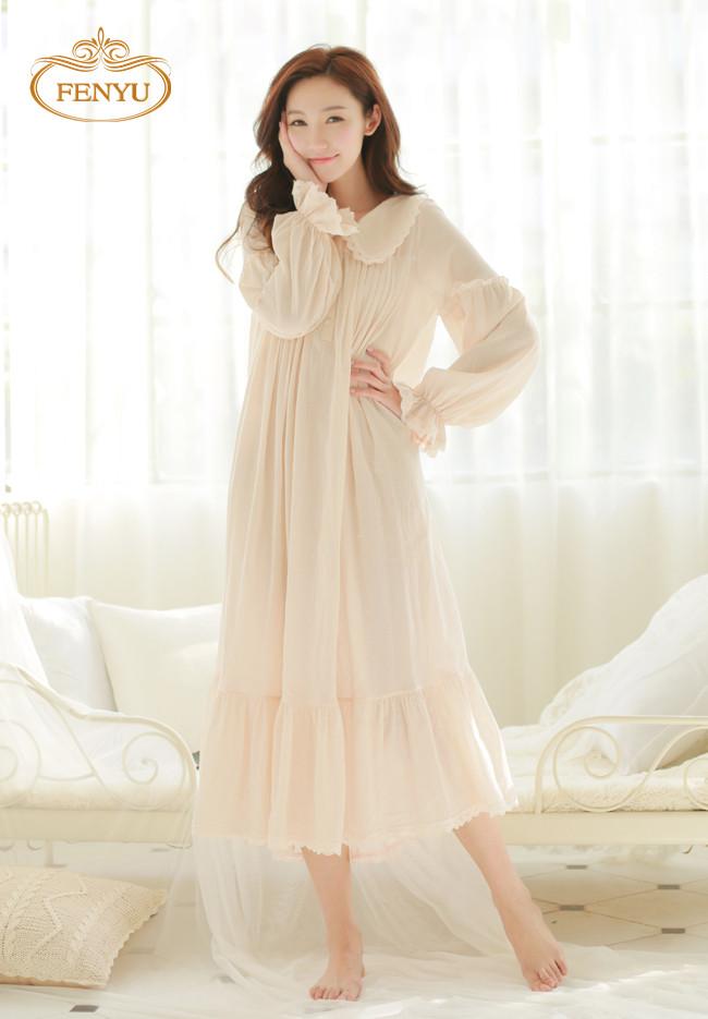Free Shipping 100% Cotton Princess White Long Pyjamas Pink Nightgown Women's Sleepwear Ladies pijamas femininos(China (Mainland))