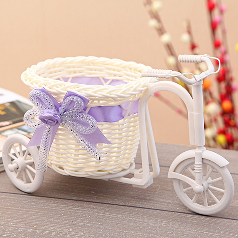 2015 Plastic Rattan Tricycle Bike Flower Basket Vase Storage Garden Wedding Party Decoration Office Bedroom Holding Candy Gift(China (Mainland))