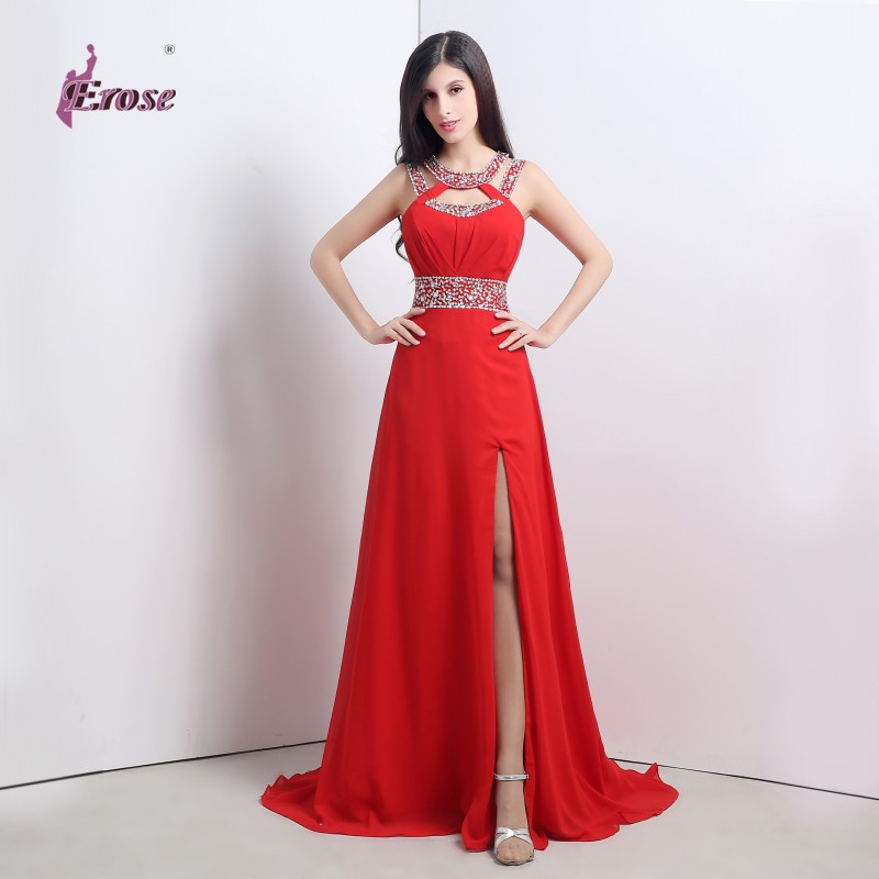 ADE-007 Beaded Floor Length Red High Slit Chiffon Party Gown Homecoming Prom Formal Evening Dress - 100% Satisfaction-Suzhou Erose Wedding store