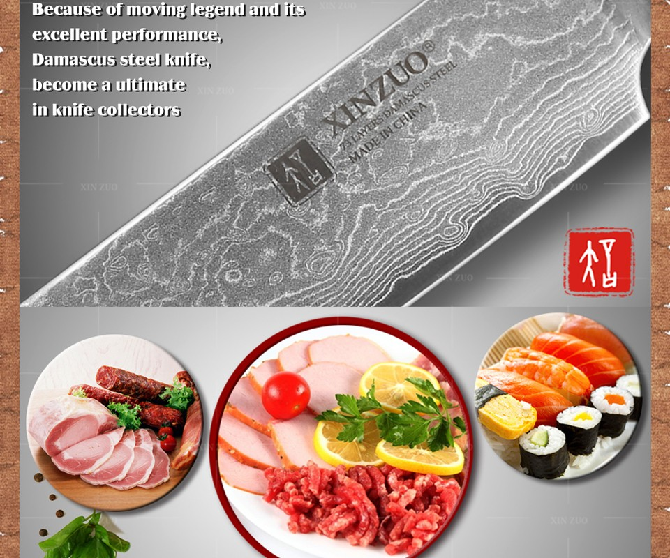 "Buy xinzuo 8"" inch cleaver knife layers Japanese Damascus kitchen knife prefessional slicing sashimi knife wood handle FREE SHIPPING cheap"