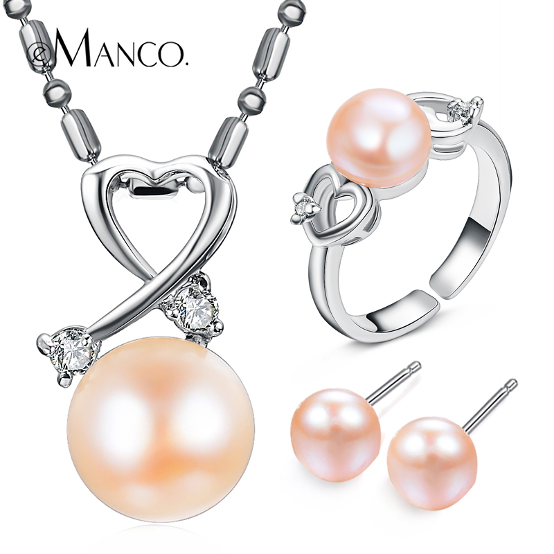 eManco Fashion Minimalist Necklace & Cuff Stud Earrings & Rings Jewelry Sets for Women Pink Imitation Pearl Copper Jewellery(China (Mainland))