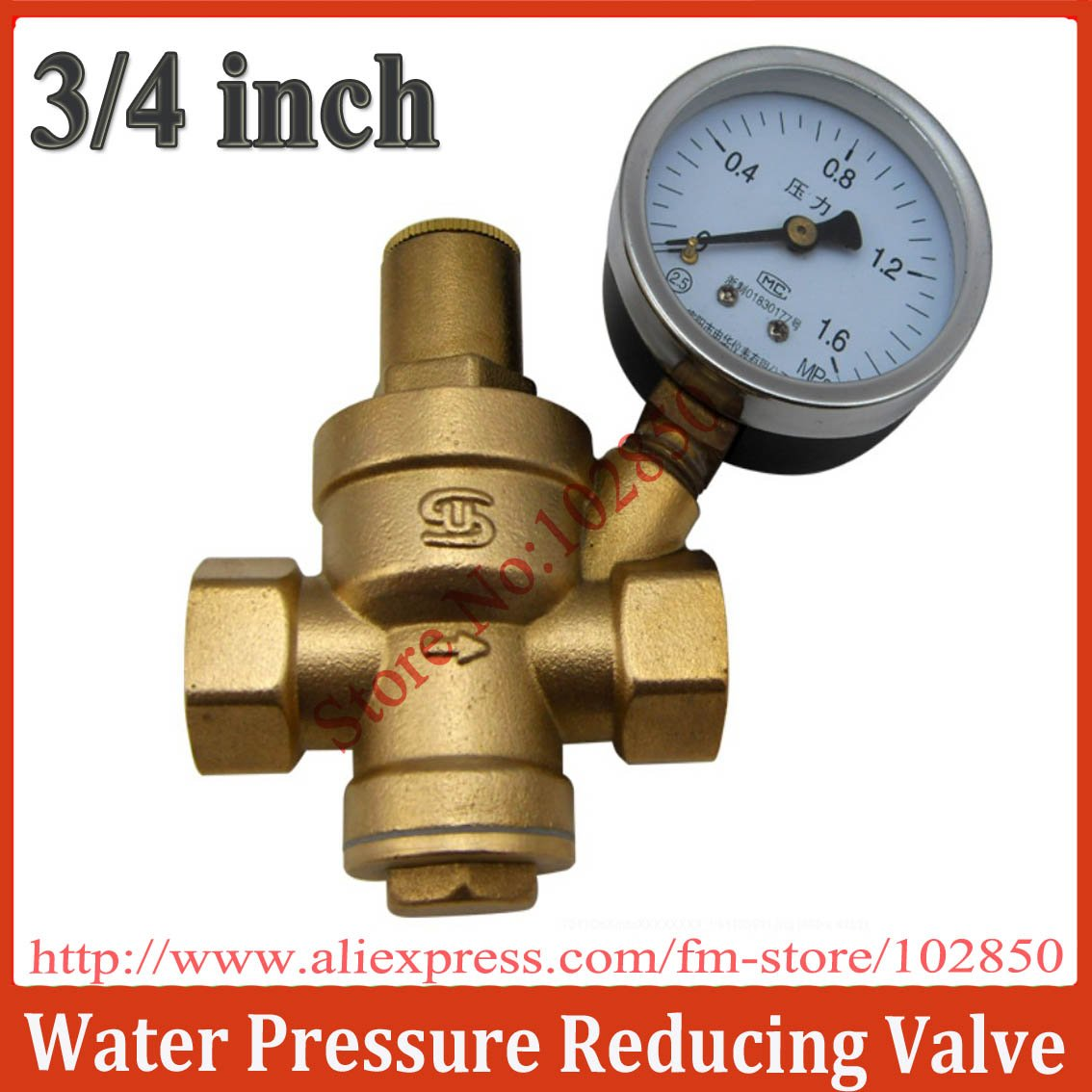 """3/4"""" Brass Pressure Reducing Valve with Pressure Gauge,Brass H59,Long life and great performance(China (Mainland))"""