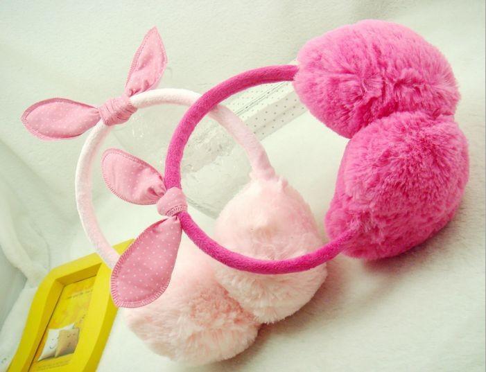 2015 Korean New Children Earmuffs for Autumn/Winter with Cute Rabbit Ears Design Kids Plush Warm Earmuffs Headwear Free Shipping(China (Mainland))