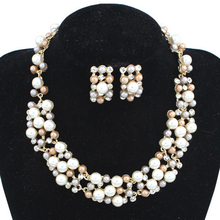 Fashion Round Simulated Pearl 1 Necklace + 1 Earrings AC0019(China (Mainland))