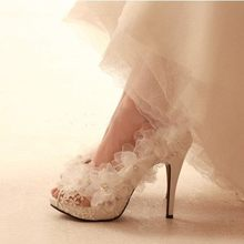 Buy White lace flower bride high-heeled platform shoes banquet plus size wedding shoes size 33_43 summer lady hollow sandals for $85.50 in AliExpress store