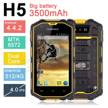 Hummer H5 3G Smartphone 4.0″ Capacitive Screen IP68 Waterproof Shockproof Dustproof 2400Mah battery GPS WCDMA Hummer H5